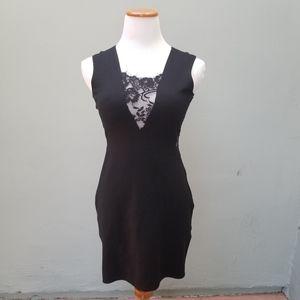 Mason Intermix Lace Insert Bodycon Black Dress S